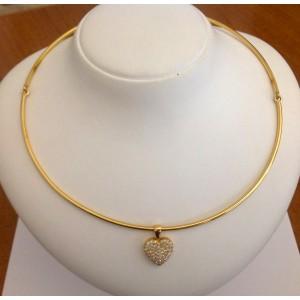 Ожерелье с бриллиантами сердца из жёлтого золота - 18 кт.