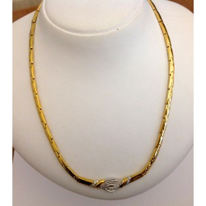 18kt Solid Gold Necklace with 18 Natural Diamonds - gr. 30