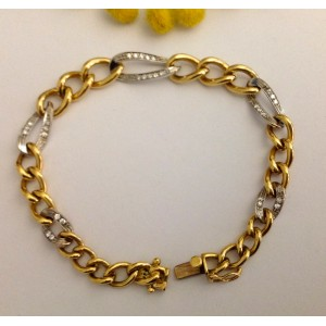 18kt Solid Gold Bracelet with 30 Natural Diamonds - gr. 32.5
