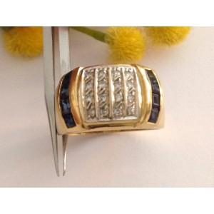 Кольцо из жёлтого золота с сапфиром и бриллиантами - gr. 7.47