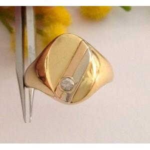 Кольцо для мужчин из жёлтого золота с кубическим цирконием - gr. 5.85