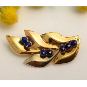 18kt Solid Gold Brooch with Blue Stones - gr. 4.6