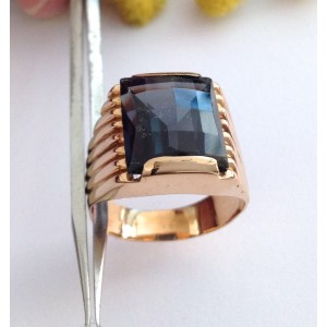 18kt Solid Gold Men's Ring with Sapphire - gr. 13.9