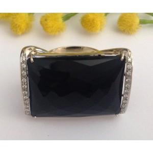 Кольцо из белого золота с ониксом и бриллиантами - gr. 24.9