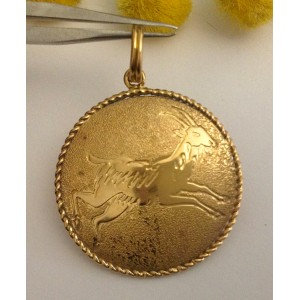 "18kt Solid Gold Zodiacal Medal ""Aries"" - gr. 3.6"