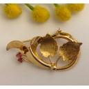 Spilla in oro giallo 18kt con rubini - gr. 4.93