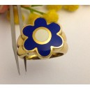 Anello in oro giallo con smalti - 18kt solid gold ring