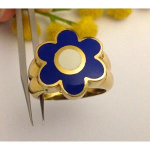 Кольцо из жёлтого золота с эмалью - 18kt
