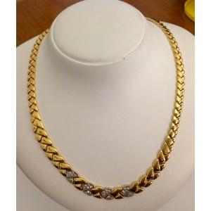 Ожерелье с кубическим цирконием из жёлтого золота - 18 кт - gr. 31.5