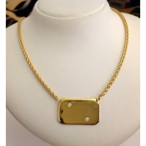 18kt Solid Gold Necklace with Platelet and Diamonds - gr. 34.9