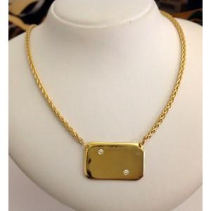 Ожерелье с пластиной из жёлтого золота и бриллиантами - 18 кт
