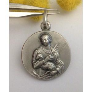 "925 Sterling Silver "" Saint Agnes "" Medal"