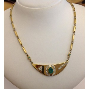 18kt Solid Gold Necklace with Emeralds and Diamonds- gr. 21.5