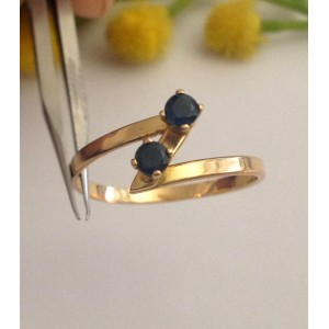 18kt Solid Gold Ring with Natural Sapphires - gr. 2