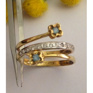 18kt Solid Gold Ring with Stones - gr. 3.57