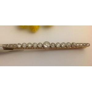 Старинная брошь из жёлтого белого золота - 18 кт с 19 бриллиантами - gr. 4.78