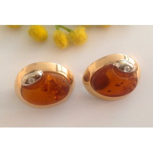 18kt Solid Gold Earrings with Amber and Diamonds - gr. 15.87