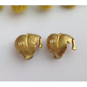 18kt Solid Gold Earrings with Diamonds- gr. 6.2