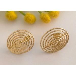 Овальные серьги из жёлтого золота - 18 кт - gr. 6.5