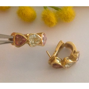 Серьги из жёлтого золота - 18 кт с кварцами  - gr. 6.1
