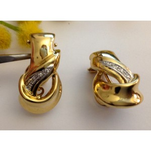 18kt Solid Gold Earrings with Diamonds - gr. 15.08