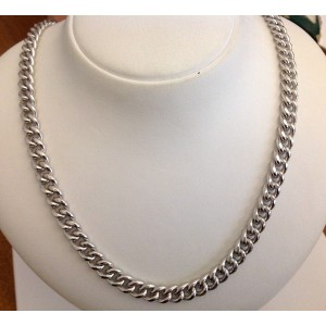 Catena Unisex maglia grumetta in argento rodiato 925 millesimi