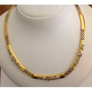 Ожерелье из жёлтого золота - 18 кт с розовым кварцем- gr. 24.6