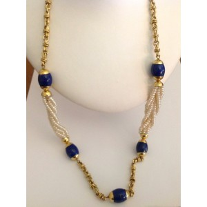 18kt Solid Gold Necklace with Lapis and Pearls - gr. 68