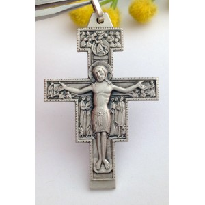 "STERLING SILVER ""ST. DAMIANO"" CROSS"