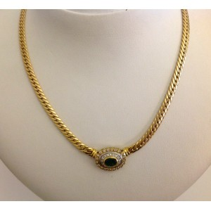 18kt Solid Gold Necklace with Diamonds and Emerald - gr. 16.64