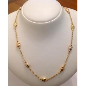 Ожерелье из жёлтого золота - 18 кт со слониками из жёлтого белого розового золота - 18 кт - gr. 10.8