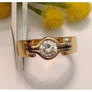 Кольцо с бриллиантом из жёлтого белого золота с алмазом - gr. 6.8