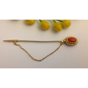 18kt Solid Gold Vintage Pin with Coral - gr. 3.3