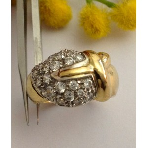 18kt Solid Gold Ring with Cubic Zirconia - gr. 6.58