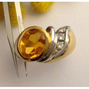 18kt Solid Gold Ring with Citrin  Quartz - gr. 7.77