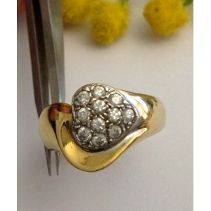 18kt Solid Gold Ring With Cubic Zirconia - gr. 7.2