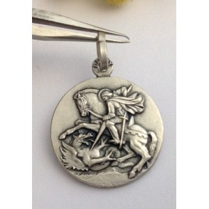 "925 Sterling Silver "" Saint George "" Medal"