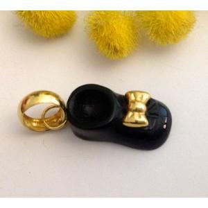 Подвеска - тапочка - из жёлтого золота 18 кт - с ониксом - gr. 1.95