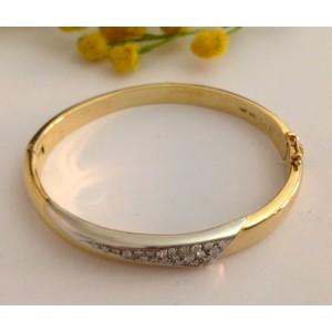 Браслет из жёлтого белого золота - 18 кт. с бриаллиантами - gr. 25.85