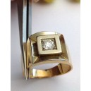 18kt Solid Gold Solitaire Men's Ring with Diamond - gr. 12.40
