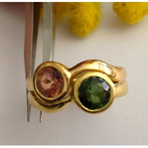 18kt Solid Gold Ring with Tourmaline- gr. 9.24
