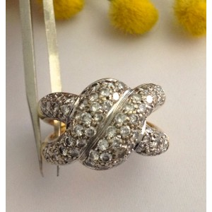 18kt Solid Gold Ring with 96 Natural Diamonds - gr. 11.4