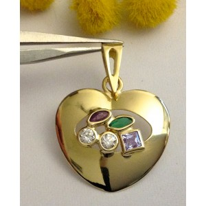 "18kt Solid Gold "" Hearth "" Pendant - gr. 1.6"