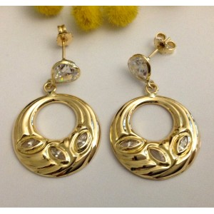 18kt Solid Gold Earrings with Cubic Zirconia - gr. 5.91