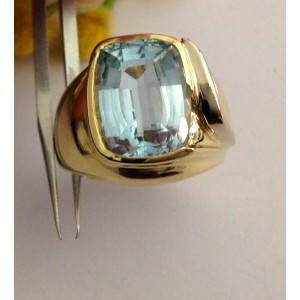 Кольцо из золота с голубым топазом - 18 kt - gr. 10.9