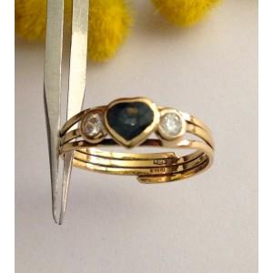 Кольцо из жёлтого золота с сапфиром и алмазами- gr. 1.45