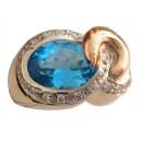 18kt Solid Gold Ring with Light Blue Topaz - gr. 13.8