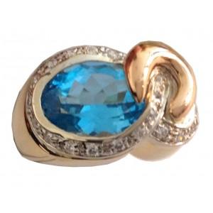 Кольцо из золота с голубым топазом - gr. 13.8
