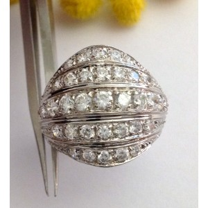 18kt Solid White Gold Ring and Cubic Zirconia - gr. 6