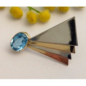 Брошь из жёлтого белого золота - 18 кт с голубым топазом - gr. 10